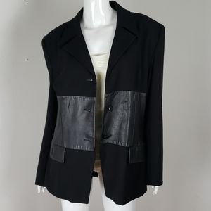 Intage Focus 2000 wool and leather blazer